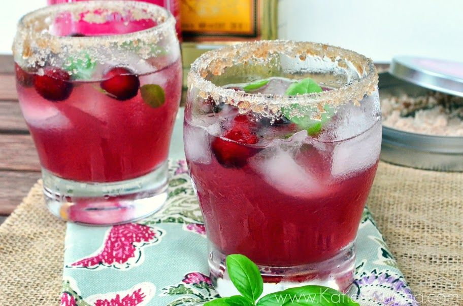 cranberry basil margarita from KatiesCucina.com #summersippers