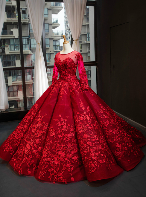 Dark Red Ball Gown Tulle Appliques Long Sleeve Backless Luxury Prom Dress