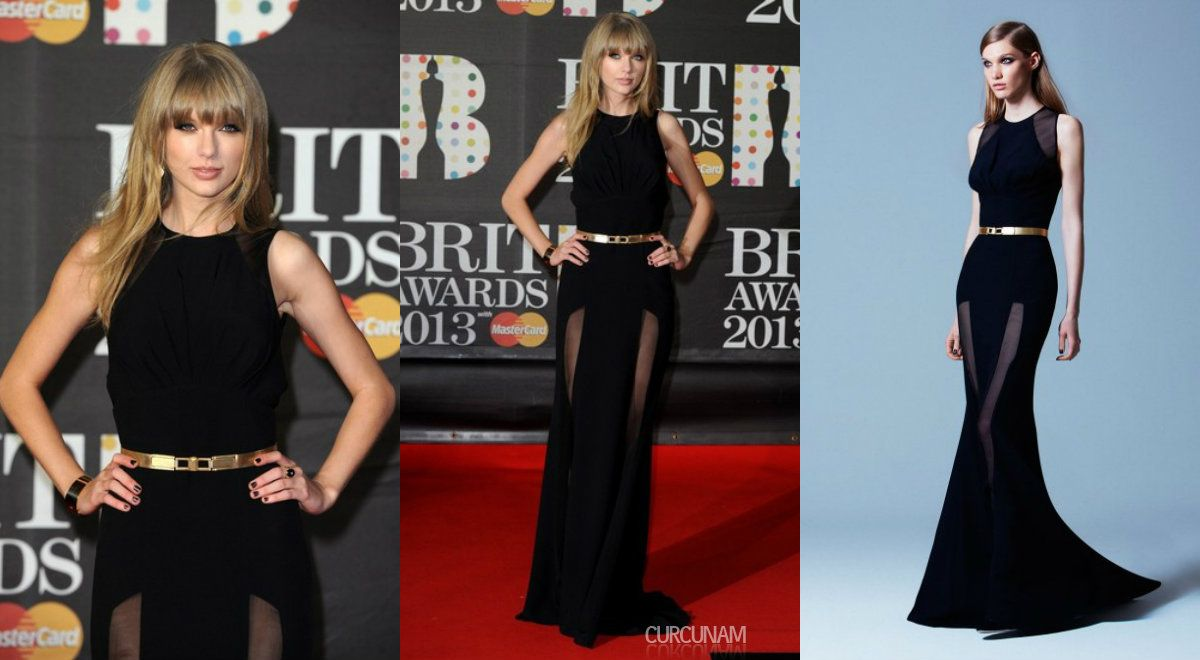 Taylor Swift in Elie Saab 2013 Pre Fall Collection at 2013 Brit Awards red carpet