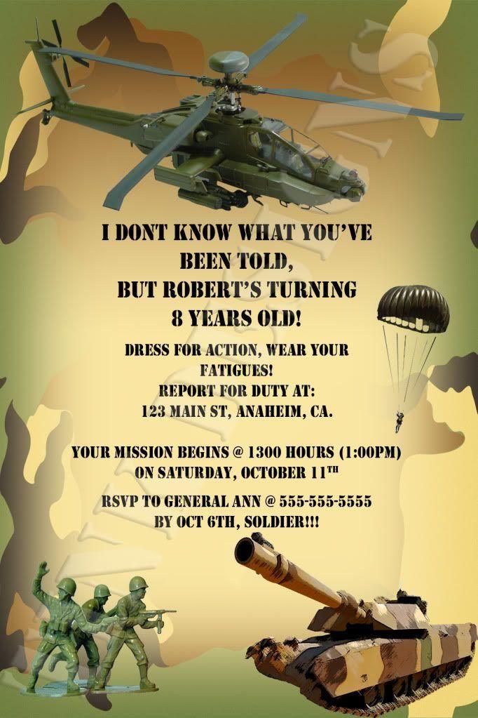 Army Themed Birthday Party Invitations | Birthday Party ...