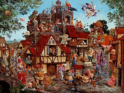 """Rhymes and Reasons"" by James Christensen. This one is hanging in my living room. I love discovering each  Nursery Rhyme"