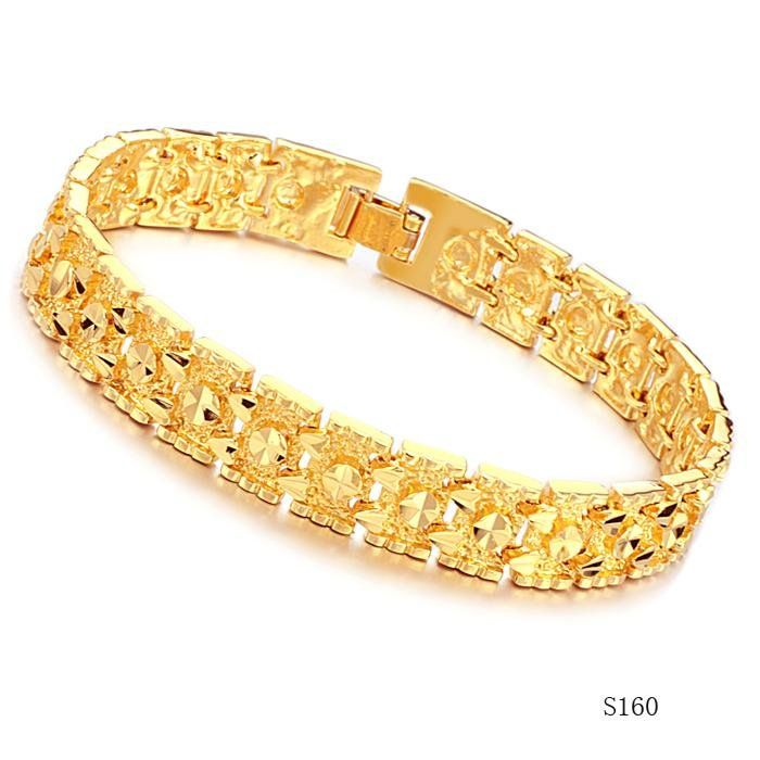 GOLD CUFFS JEWELRY | Gold Bracelets for men 18K yellow gold plated ...
