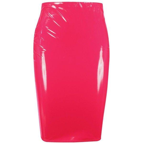 0ba065f7984b Boohoo Plus Lisa Vinyl Skirt (€16) ❤ liked on Polyvore featuring skirts,  pink midi skirt, pink mini skirt, knee length pleated skirt, pink skirt and  ...