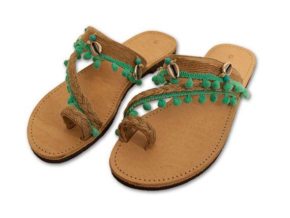 Sandalias de cuero turquesa sandalias griegas por DamanoMadebyHands