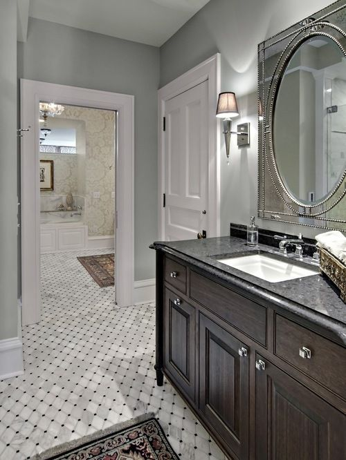 Benjamin Moore Wickham Gray Hc 171 Traditional Bathroom Traditional Bathroom Designs Bathroom Color Schemes