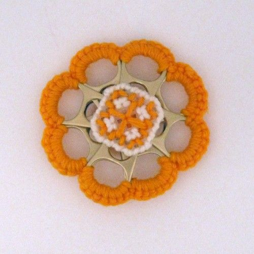 Orange and White Can Tab Christmas Flower Double Sided