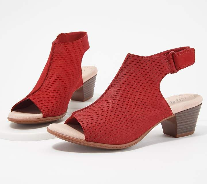 68908af2e Clarks Nubuck Leather Perforated Heeled Sandals- Valarie James in ...