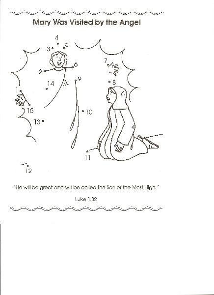 Mary Was Visited By The Angel Dot To Dot Sunday School Preschool Sunday School Activities Christmas Sunday School