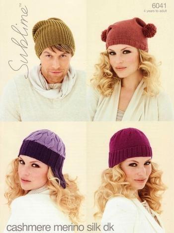 Sublime Cashmere Merino Silk Dk Family Hats Knitting Pattern 6041