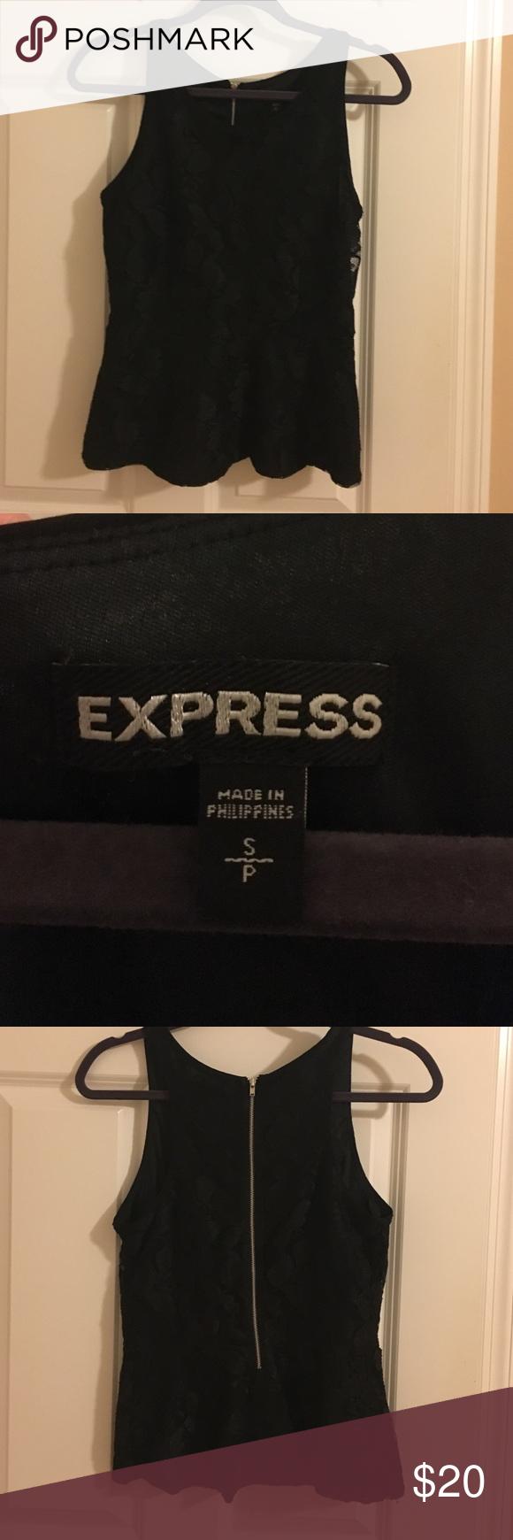 Express Black Lace Peplum top- size small Express black lace peplum top- size small, exposed silver back zipper! Express Tops Blouses