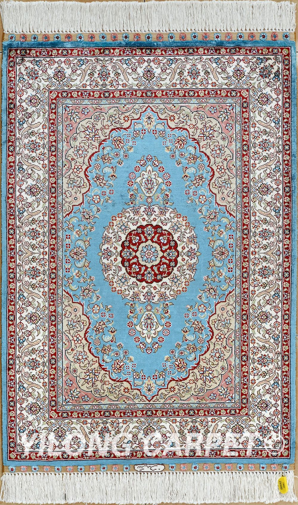 Blue Persian Rug Oriental Turkish Carpet Silk Tabriz Rugs Hereke Area Materials Style Traditional Dyeing Vegetable Technology Hand