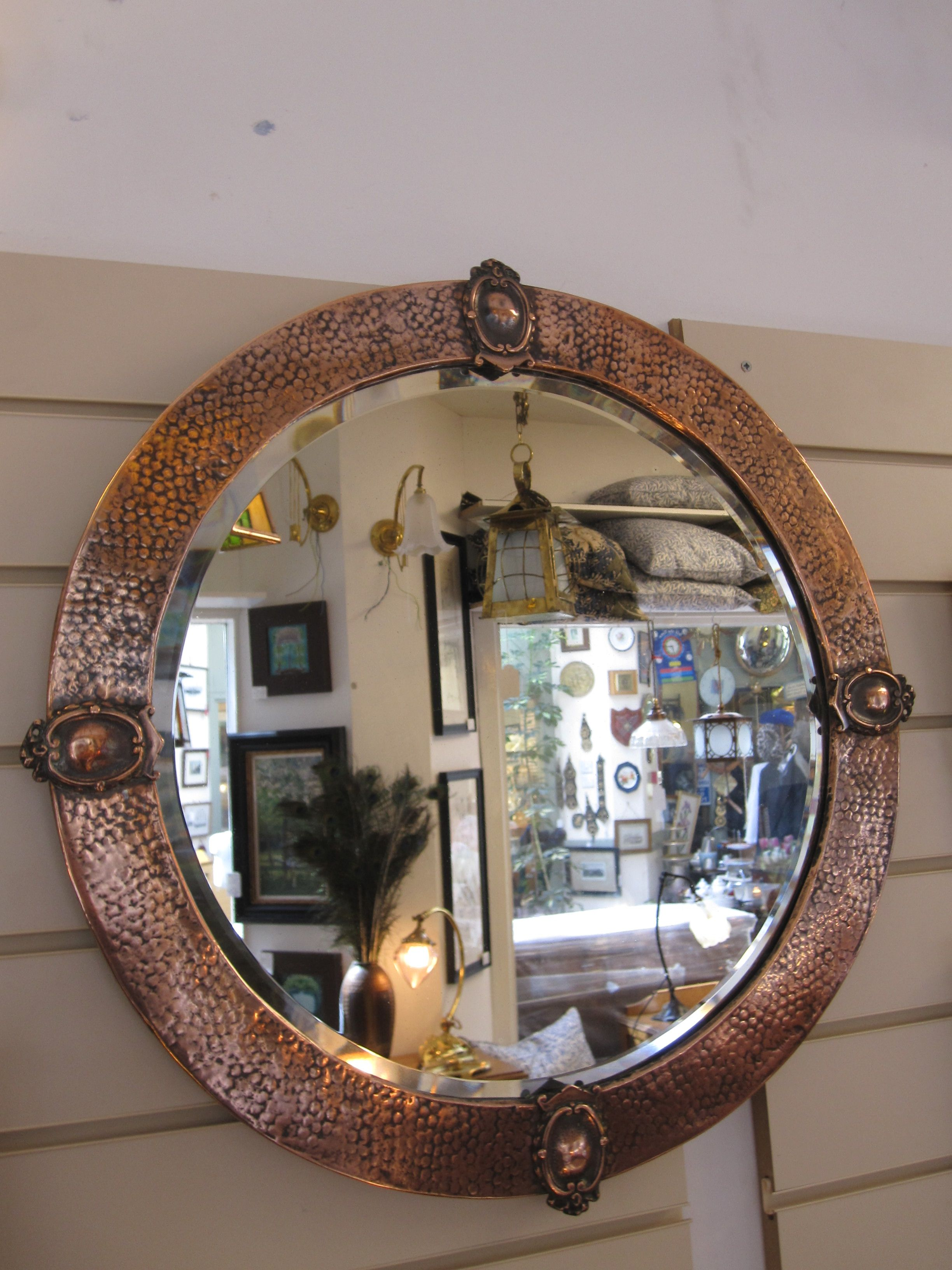 Beaten Copper Framed Mirror With Onlaid Bosses Arts And Crafts Movement Mirror Round Mirrors