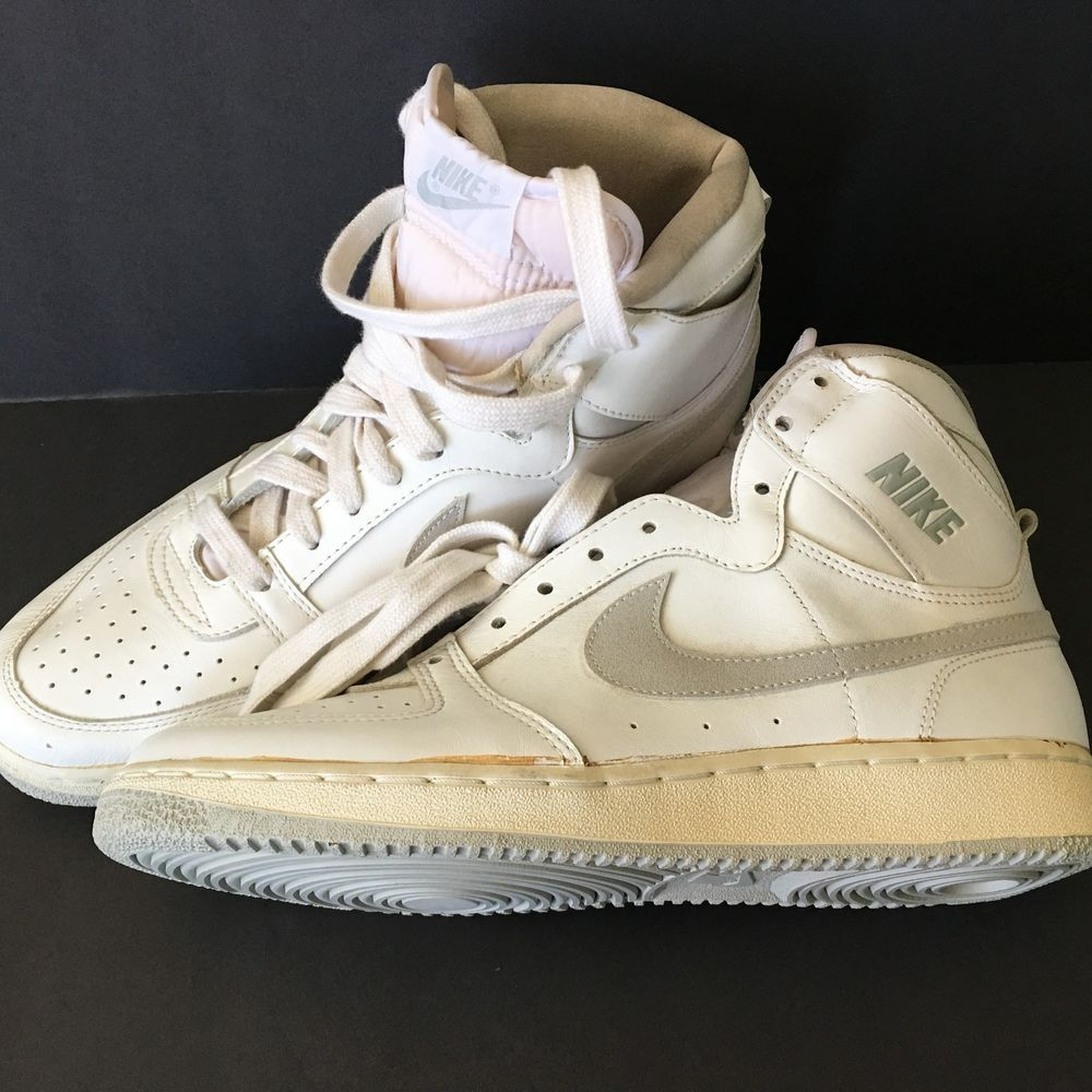 Vintage Nike 9 5 Team Convention White High Top Basketball Shoes 1986 Nos Best Basketball Shoes High Top Basketball Shoes Black Basketball Shoes