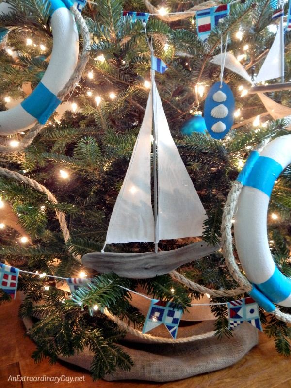 Homemade Christmas Decorations Make This Nautical Tree So Charming And Perfect For A Coastal