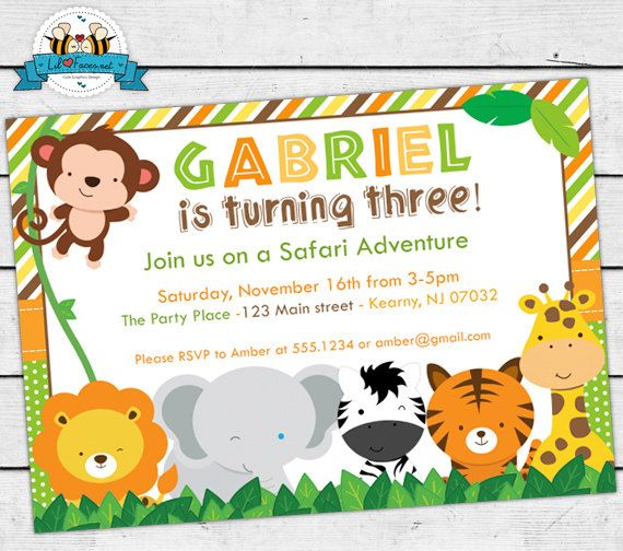 Safari animals birthday party invitation cute jungle animals safari animals birthday party invitation cute jungle animals invite card personalized invitation stopboris Choice Image