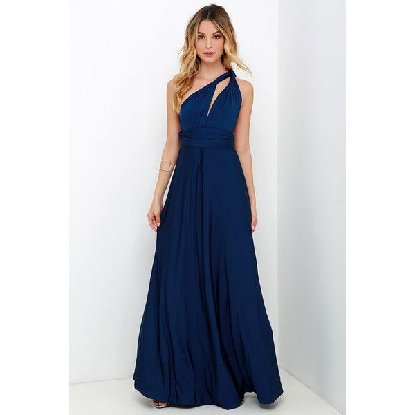 Always Stunning Convertible Navy Blue Maxi Dress ($58) ❤ liked on Polyvore featuring dresses, gowns, blue, maxi skirt, navy blue long skirt, wrap maxi skirt, long navy skirt and long maxi dresses