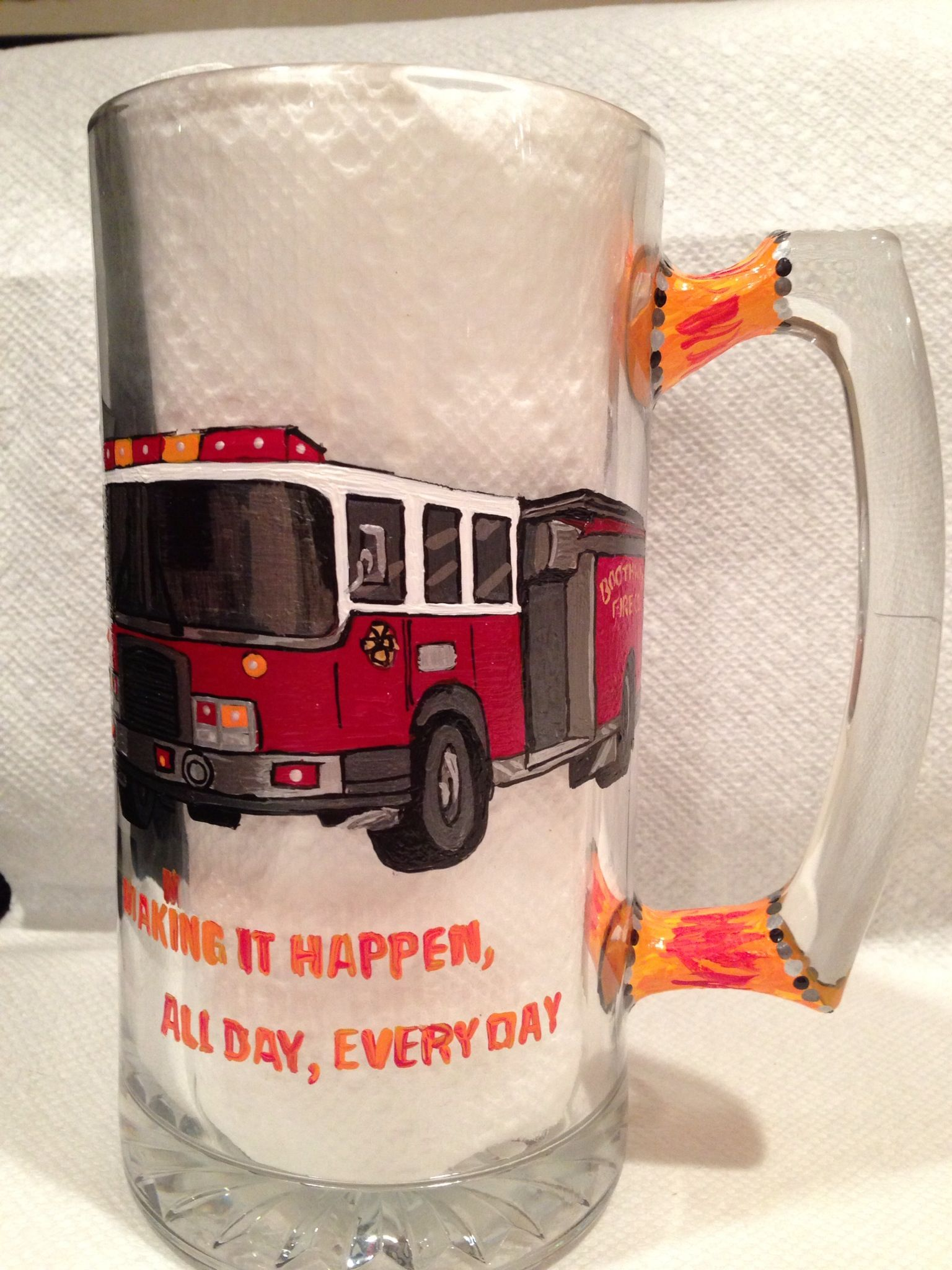 Fireman Hand Painted Glassware Www Lizzymagsdg Com Painting Glassware Hand Painted Glassware Wine Glassware