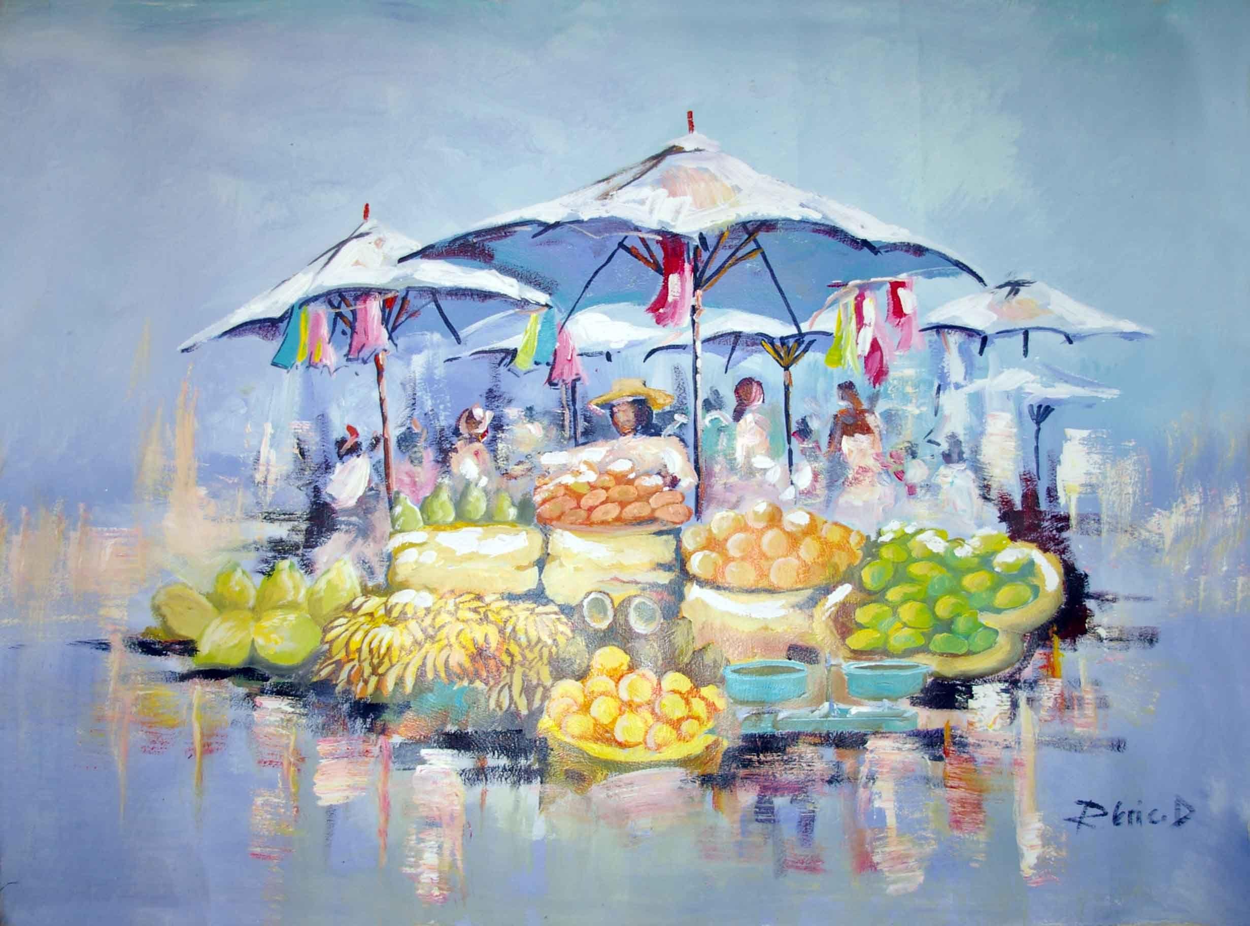 Le Marche Aux Fruits A Tananarive Peinture Typique Malgache