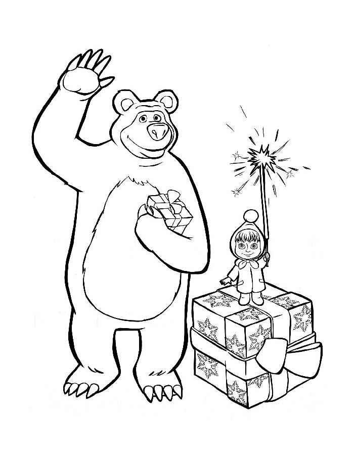Картинки по запросу маша и медведь раскраска | Раскраски ...
