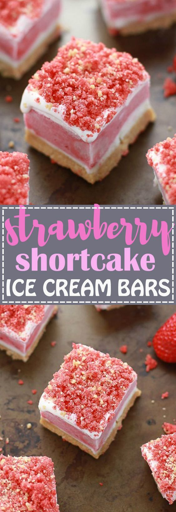 No Bake Strawberry Shortcake Ice Cream Bars has all the flavors you love about the Good Humor Popsicles in an easy no bake icebox treat. Best of all, this recipe is super simple to make with creamy vanilla ice cream, strawberry sorbet and crushed Oreo cookies.So delicious and great for cooling down on birthdays or any summer party!