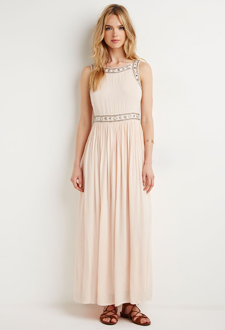 Cool Amazing Forever 21 Blush Silver Beaded Crepe Maxi Formal Prom