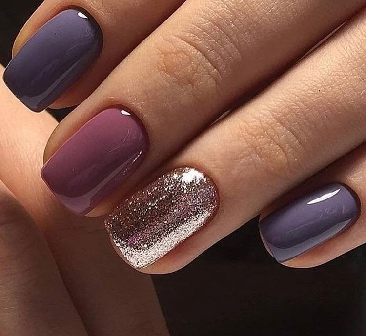 Purple And Glitter Nails Trendy Nails Nails Shellac Nails