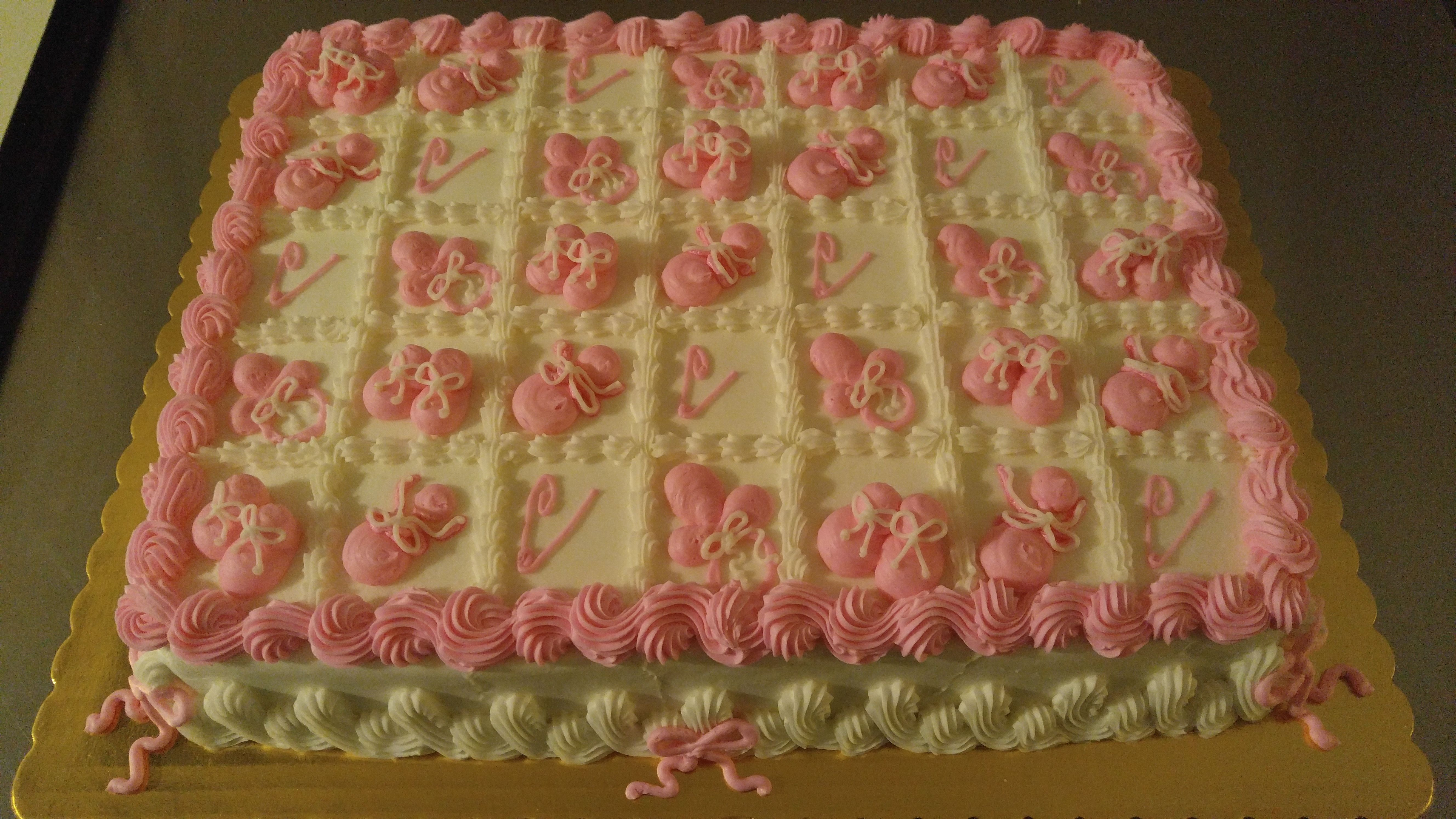 Baby Shower Sheet Cake Decorated in Squares, Uncut. www.VintageBakery.com (803) 386-8806