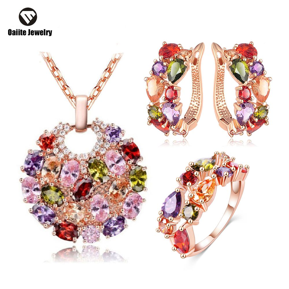 OAIITE Colorful Jewelry Sets Cubic Zircon Hypoallergenic Rose Gold