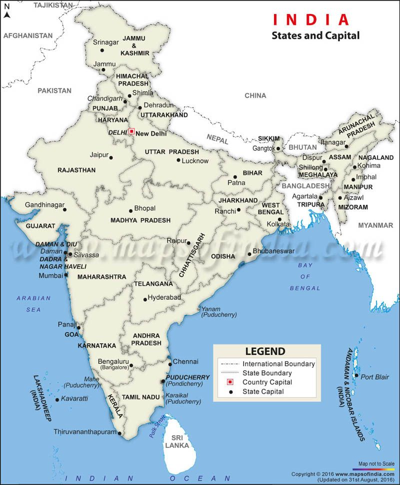 States And Capitals Of India Map States and Capitals Map of India | Electrical | States, capitals