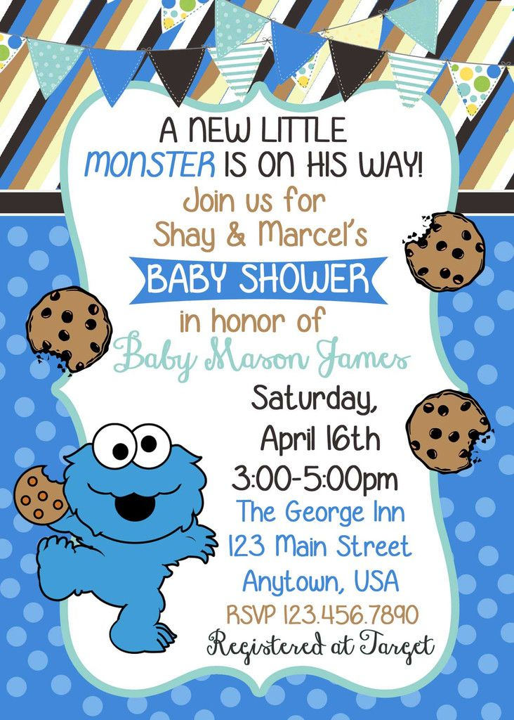 Cookie Monster Baby Shower Invitation Cookie Monster Monster