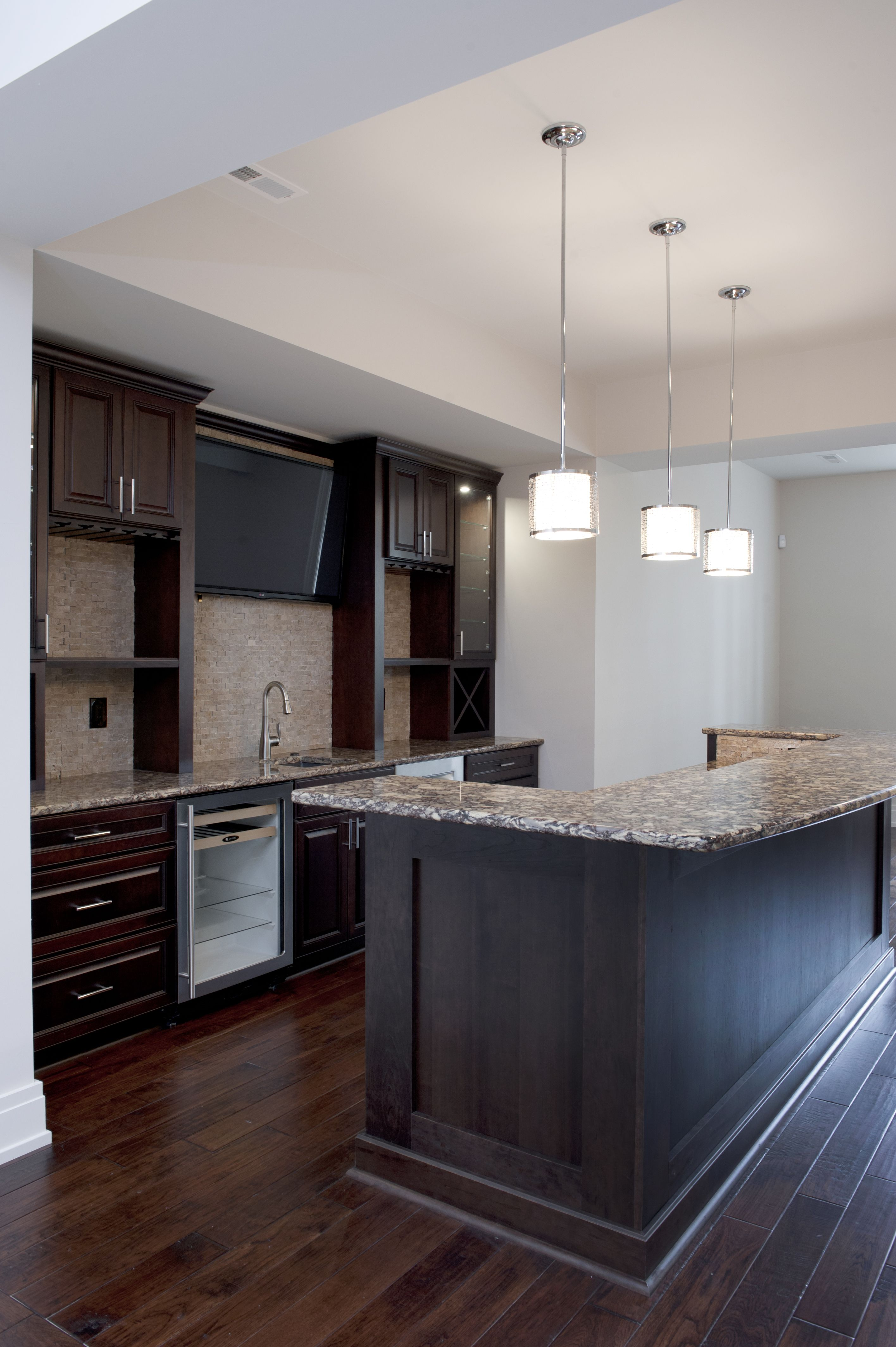 Basement Bar Yorktowne Cherry Cabinets With Espresso Finish, Cambria Countertops And