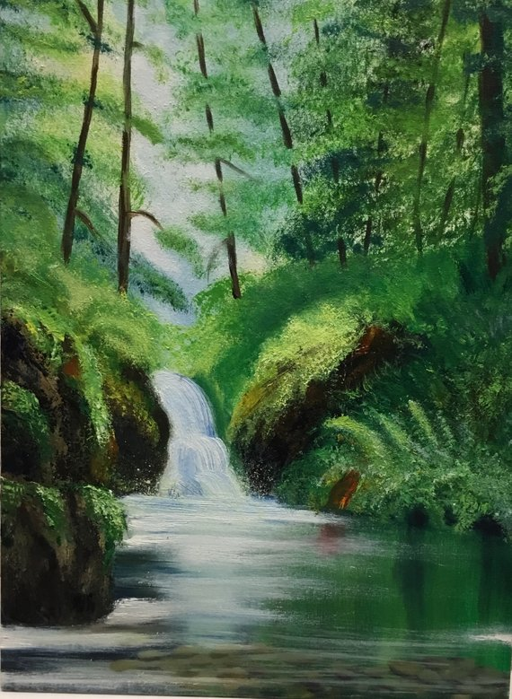 How Much Do Bob Ross Paintings Sell For : paintings, Waterfall, Paintings, Living, Decor, Waterfall,, Paintings,