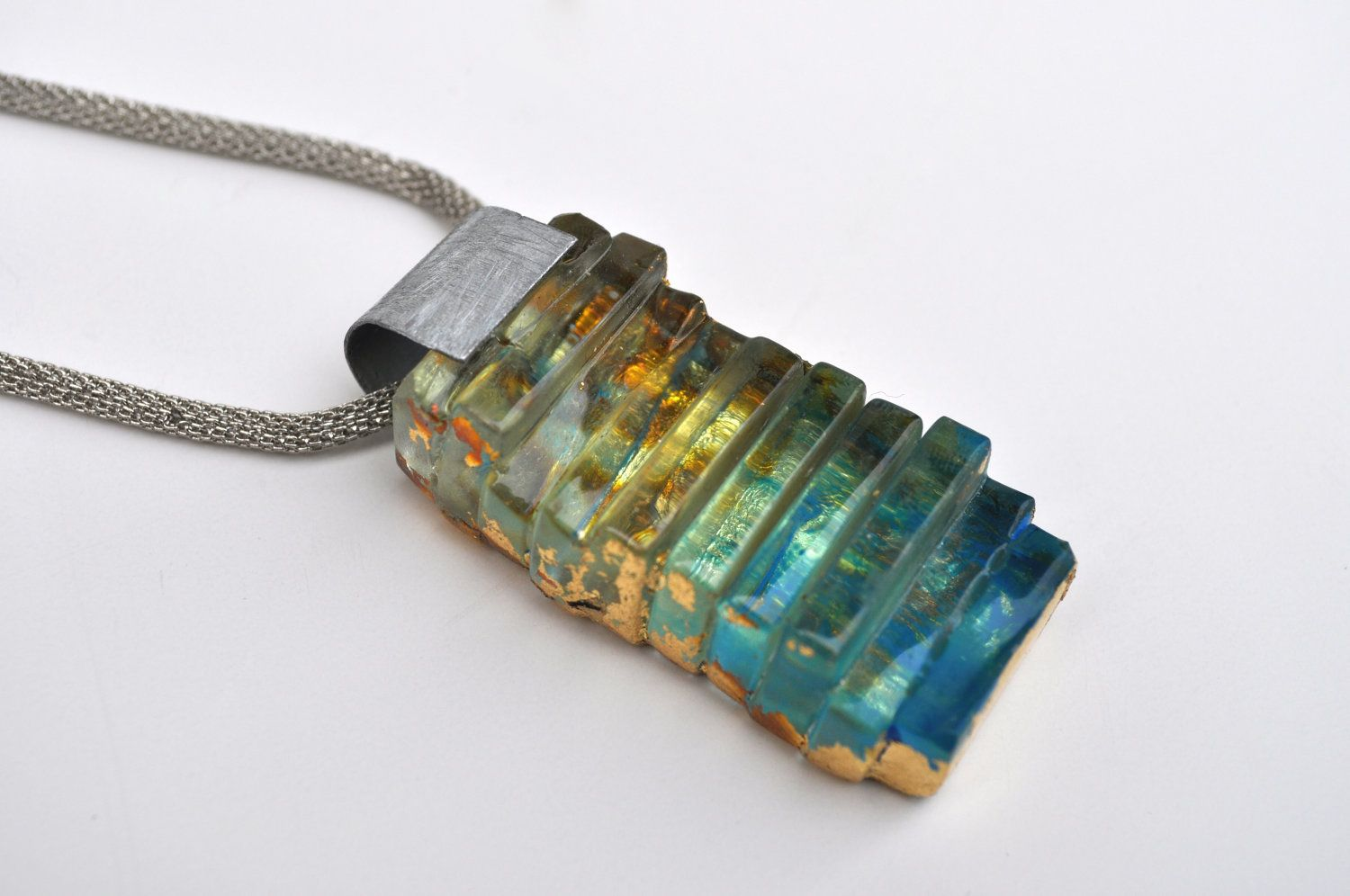 On adjustable chain TWISTED UP Statement piece made with dichroic fused glass stone Necklace Hand made Necklace