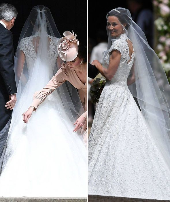 Pippa middleton wedding giles deacon lace wedding dress for Giles deacon wedding dresses