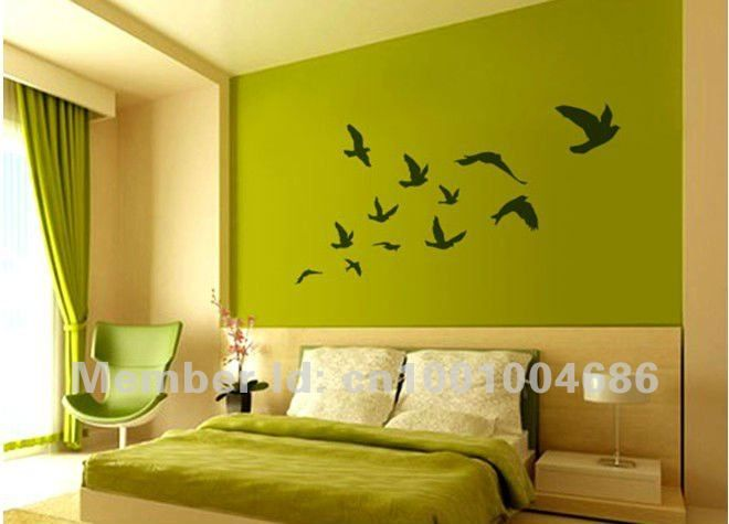 Free Shipping Pretty Flying Birds Removable Wall Sticker Wall Decal ...