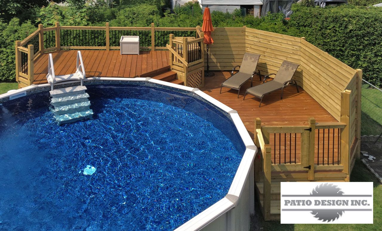 Patio with aboveground pool like the pool steps Pool
