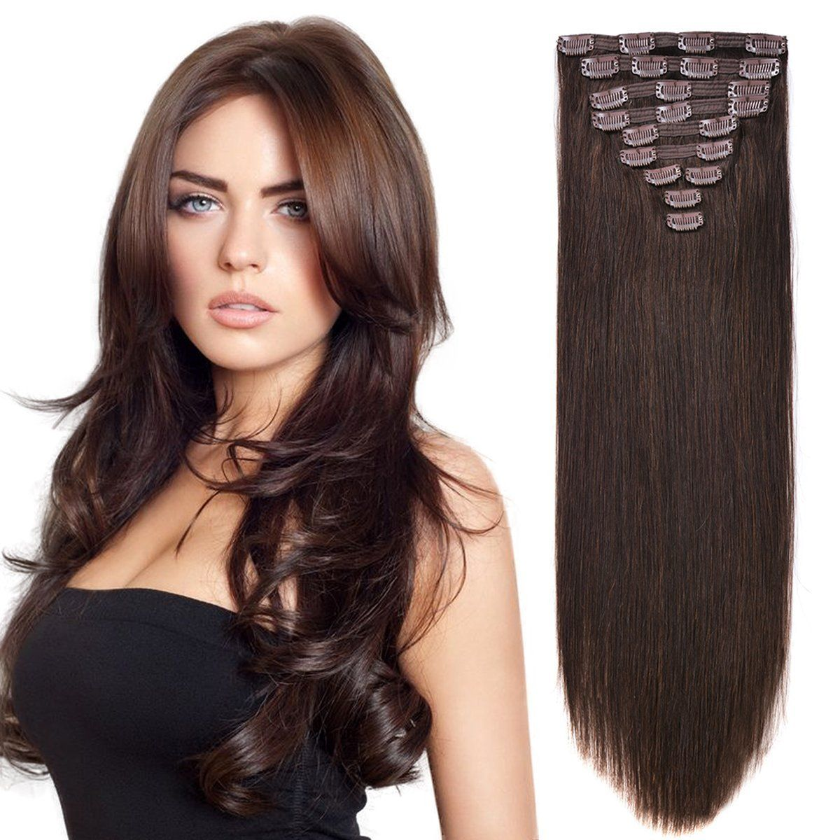 20 Human Hair Extensions Clip On Real Hair Clip In Extensions For