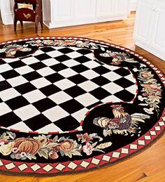 A Checkered Border Surrounding Roosters And Fruit Make This French Country Rug Must Have For