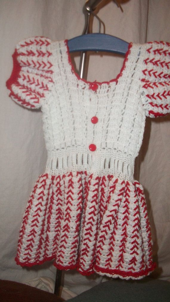 Vintage 1950s Large Crochet Doll Dress Red and by whiskeygogogirl, $24.99