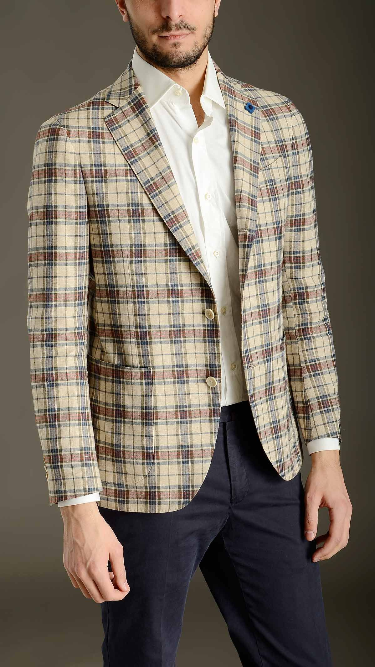 LARDINI Checked silk-linen deconstructed jacket featuring three buttons lapel roll, long sleeves, cuffs featuring four buttons fastening, two patch pockets and a chest pocket at front, liningless, side slit, logoed blossom detail on the chest pocket, 51% silk 49% linen.