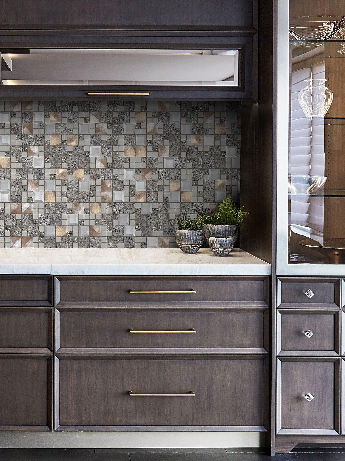 - Dark Brown Cabinet Copper Backsplash Tile BA62010 In 2020 Copper Mosaic  Backsplash, Tile Backsplash, Kitchen Backsplash Designs
