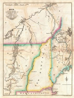 1832 Marshall Map of New Hampshire, Vermont and Maine | Historic ...