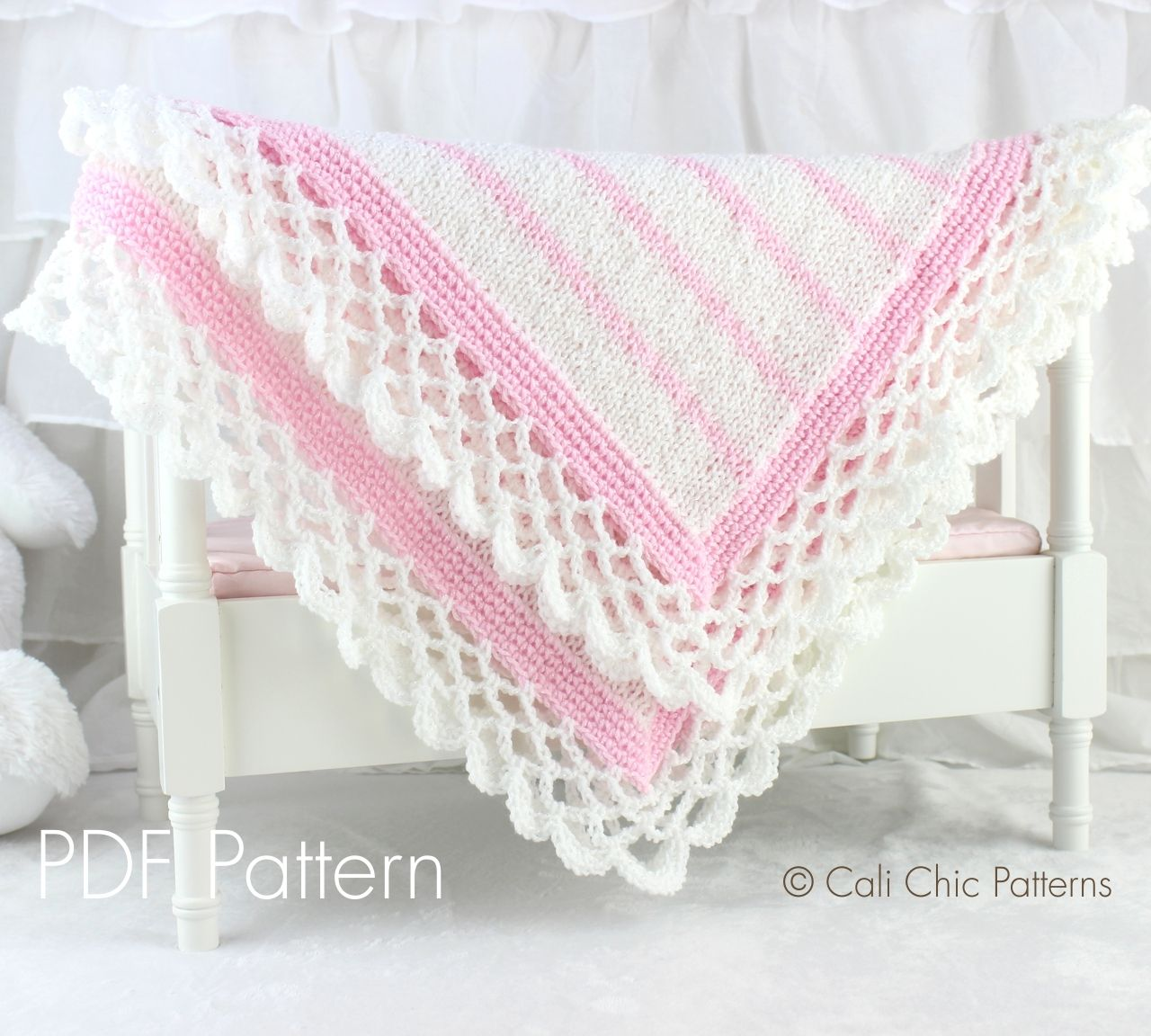 Cali Chic Patterns - Crystal Lace - Knit Baby Blanket PATTERN 68 ...