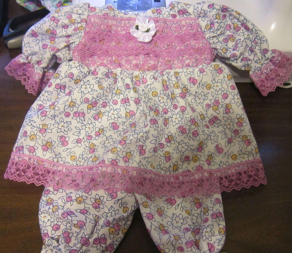 "White/Purple Floral Dress/Bloomers Fits 12-14"" Berenguer,  incl La Newborn  #KindredHeartsDesigns"