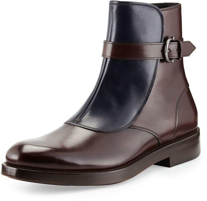 SUIT UP - Salvatore Ferragamo Power Runway Boot, Chocolate/Navy, Salvatore Ferragamo smooth leather boot.