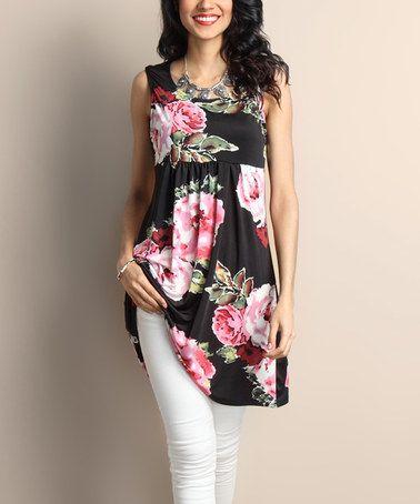 cf628660a6ad Another great find on  zulily! Black Floral Empire-Waist Sleeveless Tunic  Dress  zulilyfinds