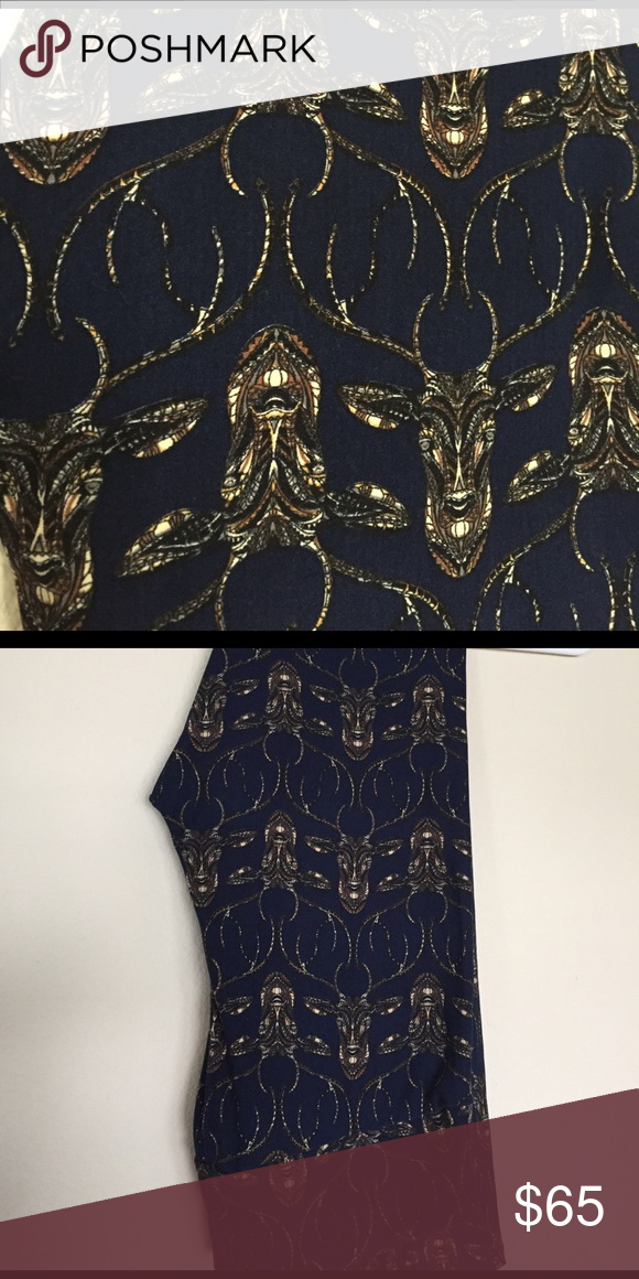 LuLaRoe deer head leggings These leggings have never been worn or washed. They have a deep blue background and the detailing is really gorgeous! They were made in China. Please note that these are one of the pairs that runs a little small, so if you're on the upper end of TC they may not fit. LuLaRoe Pants Leggings