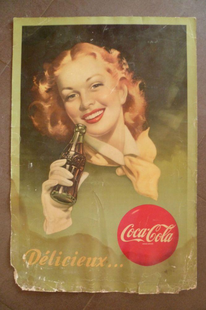 ancienne affiche publicitaire boisson coca cola old advertising poster affiches anciennes. Black Bedroom Furniture Sets. Home Design Ideas