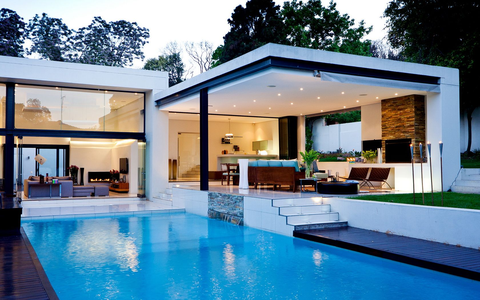 Modern White Nuance Home Plans Over Water That Has Warm Lighting And White  Wall Can Add