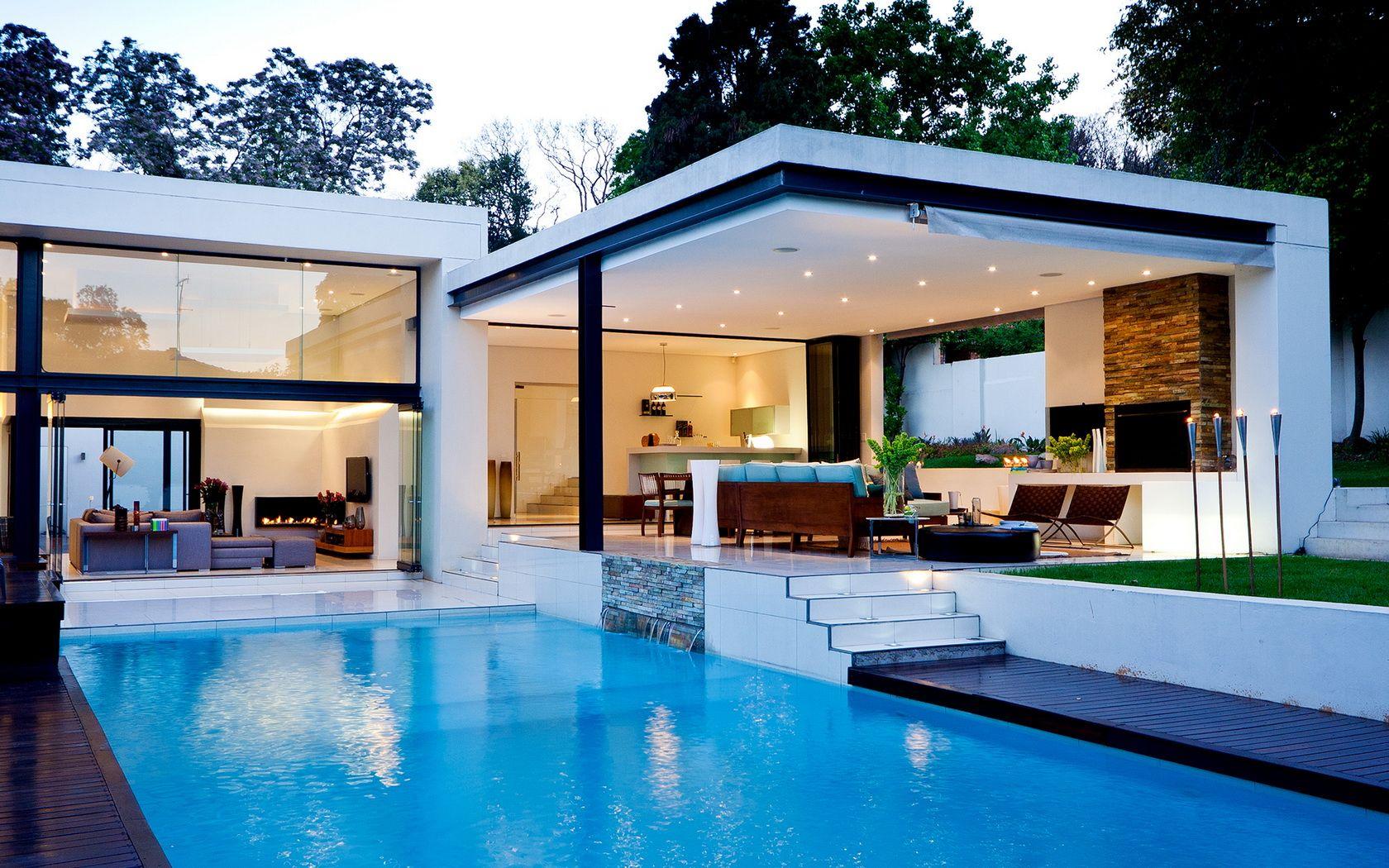 idée de design extérieur belle piscine moderne avec la maison ...